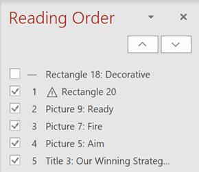 Riquadro ordine di lettura.
