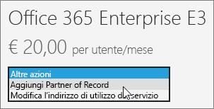 Scegliere Aggiungi Partner of Record