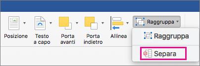Per sciogliere un raggruppamento, fare clic su Separa nella scheda Formato forma o nella scheda Formato immagine.
