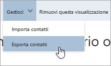 Screenshot che mostra l'opzione Esportazione contatti nel menu Gestisci