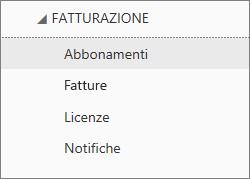 Screenshot del menu Fatturazione nell'interfaccia di amministrazione di Office 365, con l'opzione Abbonamenti selezionata.