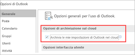 Mostra le opzioni delle impostazioni di Outlook