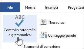 Pulsante Controllo ortografia e grammatica sulla barra multifunzione Revisione