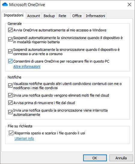 Scheda Impostazioni generali in OneDrive, che mostra l'opzione di recupero abilitata