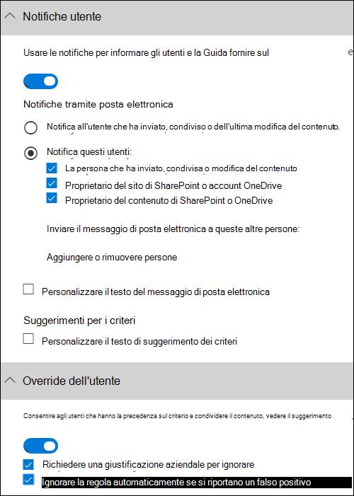 Nella sezione notifiche utente e utente esegue l'override di sezione
