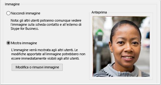 Finestra di dialogo di opzioni per Immagine personale