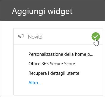 Screenshot del riquadro a comparsa Aggiungi widget nel Centro sicurezza e conformità