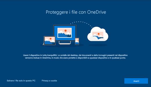 Schermata della pagina di OneDrive visualizzata quando si usa Windows 10.