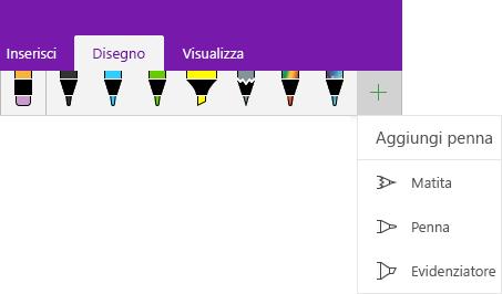 Menu Disegno che mostra il menu a discesa per l'aggiunta di una penna personalizzata