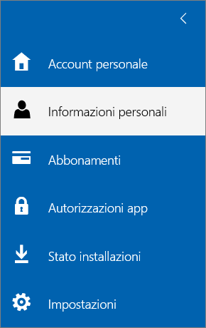 Menu Account personale con l'opzione Informazioni personali selezionata.