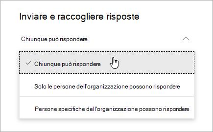 Opzioni di condivisione per Microsoft Forms