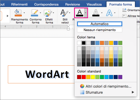 Scheda Formato forma con l'opzione Riempimento testo evidenziata.