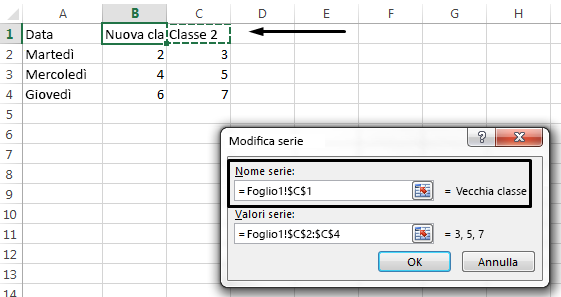 Per selezionare una cella diversa da usare come nome della legenda, fare clic nella casella di testo Nome serie.