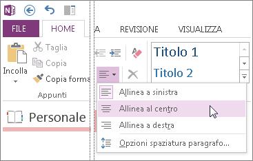 Modificare lo spazio visualizzato tra le righe con le opzioni Allineamento paragrafo.