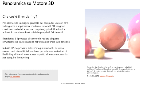 Screenshot della sezione Panoramica del motore 3D delle linee guida per il contenuto 3D
