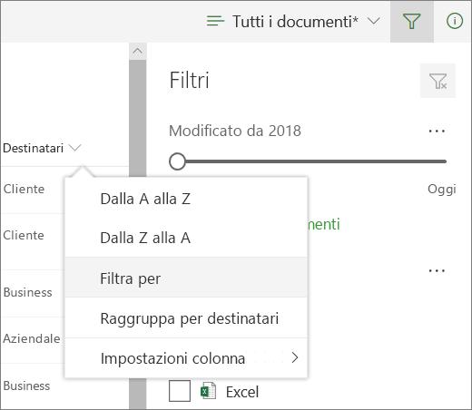 Fare clic su Filtra per aprire il pannello filtro