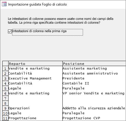 Importazione di dati da Excel