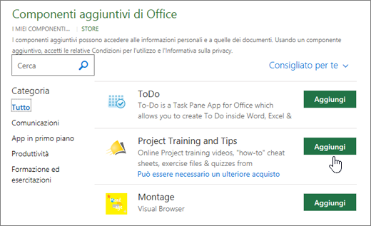 Schermata della pagina di componenti aggiuntivi di Office nell'archivio in cui è possibile selezionare o cercare un componente aggiuntivo per Project.