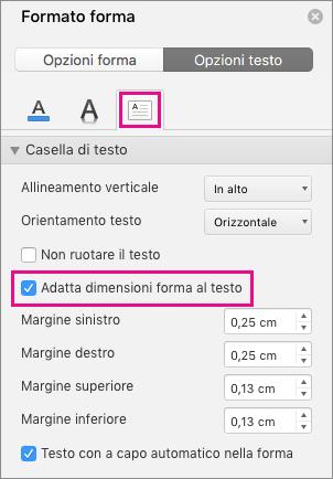 Opzione Adatta dimensioni forma al testo evidenziata nel riquadro Formato forma.