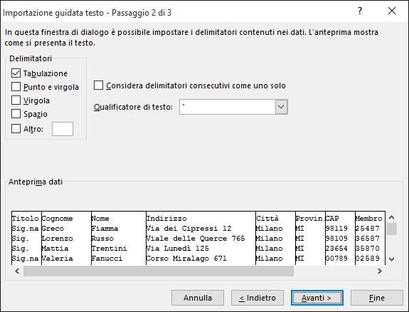 Le opzioni per Delimitatori sono evidenziate nell'Importazione guidata testo.