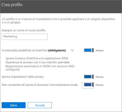 Immettere il nome e attivare le impostazioni nel pannello Crea profilo.