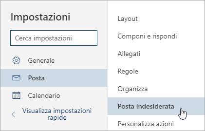 Schermata del menu Impostazioni posta elettronica indesiderata selezionata