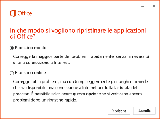 Ripristino rapido di Office