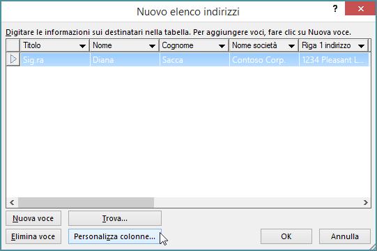 Per aggiungere colonne personalizzate alla lista di distribuzione, fare clic sul pulsante Personalizza colonne.
