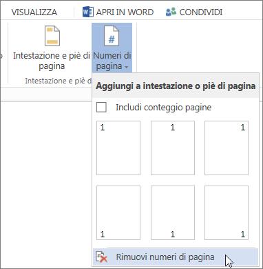 Immagine dell'opzione Rimuovi numeri di pagina selezionata nella raccolta Numeri di pagina