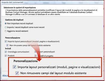 Sezione Personalizzazione della finestra di importazione