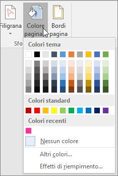 Opzioni di Colore pagina visualizzate