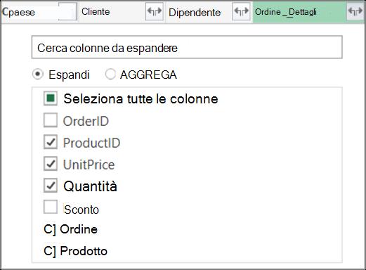 Espandere il collegamento Table di Order_Details