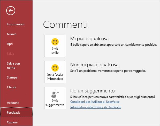 Fare clic su File > Feedback per inviare a Microsoft commenti o suggerimenti su Access