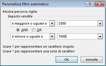 Finestra di dialogo Personalizza filtro automatico