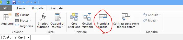 Barra multifunzione della finestra di PowerPivot con il comando Proprietà tabella