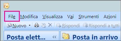 In Outlook 2007 scegliere la scheda File.