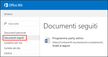 Schermata dei documenti di OneDrive for Business che si seguono in Office 365.