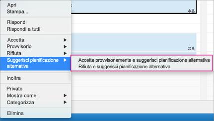 Suggerire una pianificazione alternativa dal calendario