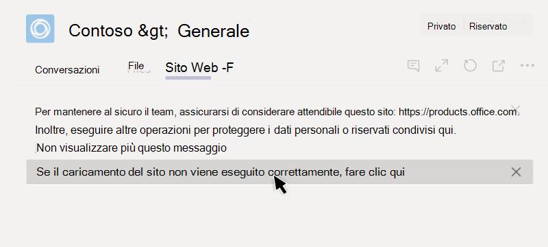 Sito Web non è possibile caricare in una scheda
