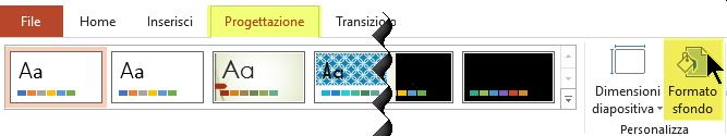 Il pulsante Formato sfondo si trova nella scheda Progettazione della barra multifunzione di PowerPoint