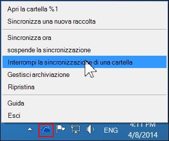 Comando Interrompi la sincronizzazione di una cartella nel menu OneDrive for Business