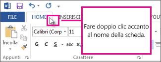 Fare doppio clic su una scheda della barra multifunzione per comprimere o decomprimere velocemente la barra multifunzione