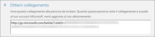 Primo piano della sezione URL di collegamento della finestra di dialogo Aggiungi qualcuno.