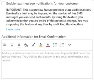 Selezionare la casella di controllo per consentire l'invio di notifiche dei messaggi SMS ai clienti