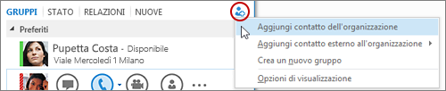 Nella finestra principale di Lync fare clic sul pulsante Aggiungi contatto