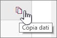 Fare clic sull'icona copia dati per copiare i dati della web part correnti