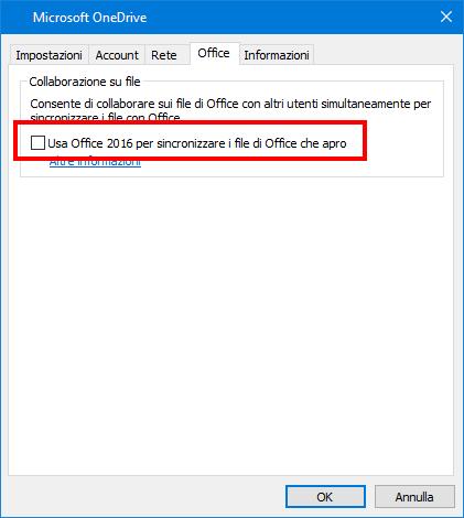 Scheda di caricamento di Office nelle impostazioni di OneDrive