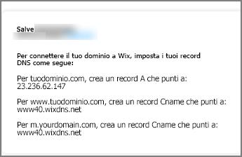 In Wix.com usare queste impostazioni per il record DNS
