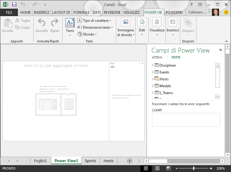 Report Power View vuoto in Excel