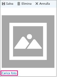 """Finestra di caricamento della foto con """"Carica foto"""" evidenziato"""